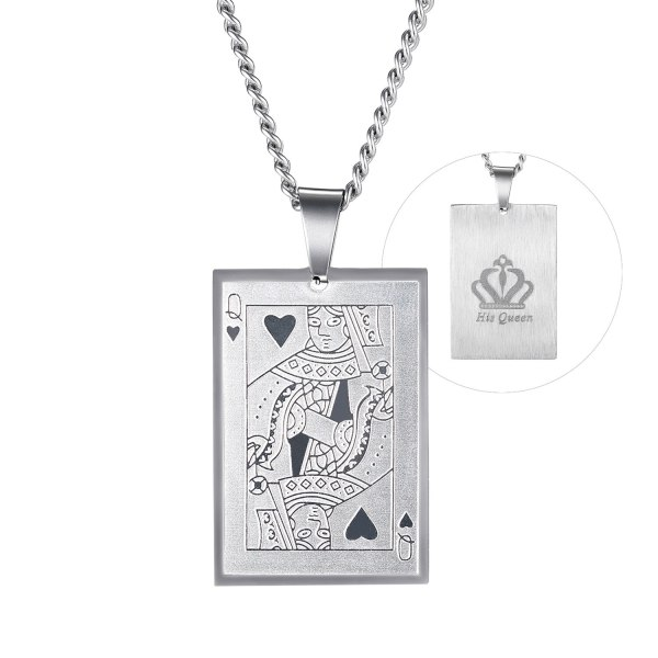 European and American Retro Trend Poker Pendant Men's Hip-hop Stainless Steel Design King Couple Necklace Gb1879
