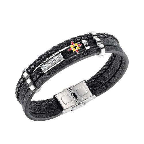 European Style Creative Personality Street Fashion Men's Leather Bracelet Diamond-studded Star Leather Bracelet Wholesale Gb1447