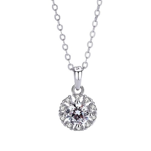 S925 Sterling Silver Inlaid Zircon Necklace Pendant Female Accessories Wholesale MlA1816