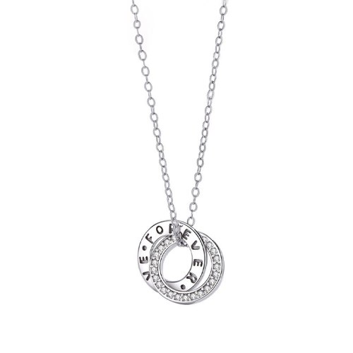 925 Sterling Silver Necklace Female Clavicle Chain Japanese and Korean Round Double Ring Pendant English Letter Necklace MlA1835