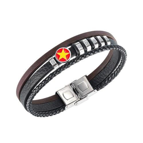 European Trend Five-star Multi-layer Leather Bracelet Men's Leather Bracelet Accessories Gb1448