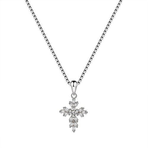S925 Sterling Silver Cross Necklace Pendant Female Fashion European and American Fashion Pendant Silver Mla1824