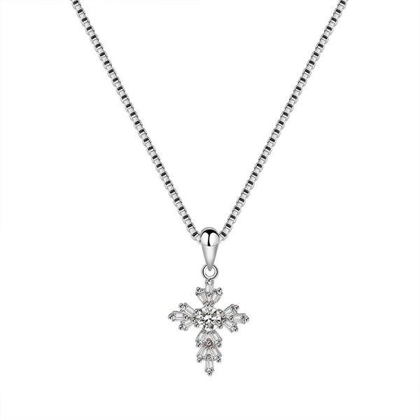 S925 Sterling Silver Cross Necklace Pendant Female Fashion European and American Fashion Pendant Silver Mla1824