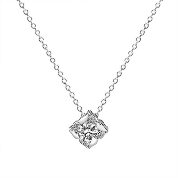 S925 Sterling Silver Rose Necklace Female Ins Korean-Style Zircon Flower Pendant Silver Mla1822