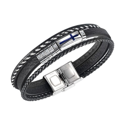 European and American Personality Cross Men's Leather Bracelet Diamond Multi-Layer Leather Bracelet Accessories Wholesale Gb1444