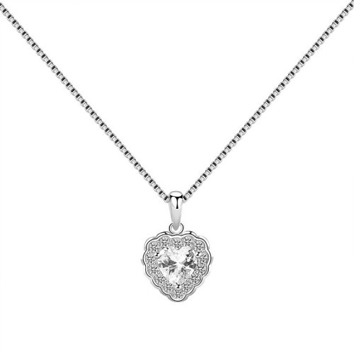 S925 Sterling Silver Lovely Pendant Female Ornament Fashion Korean-Style Heart-Shaped Zircon Small Ornament Pendant Mla1809