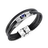 European and American Multi-layer Leather Titanium Steel Diamond-studded Leather Bracelet Men's Leather Bracelet Gb1446