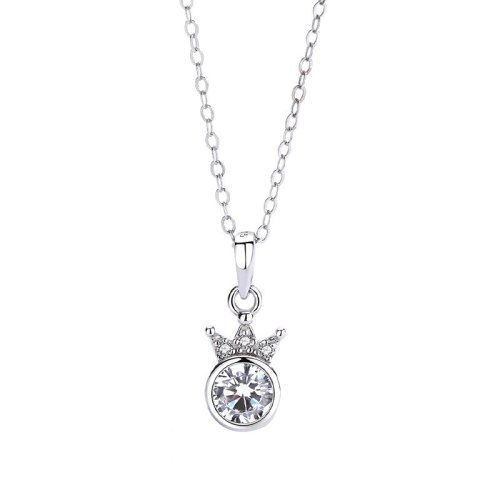 S925 Sterling Silver Necklace Crown Zircon Pendant In European Temperament Light Luxury Clavicle Chain Pendant Mla1813