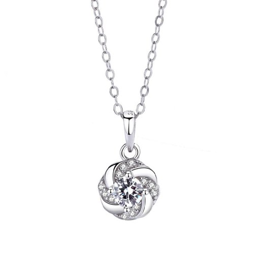 S925 Sterling Silver Jewelry Classic Zircon Pendant Female Necklace Rotating Four-leaf Flower Pendant MlA1812