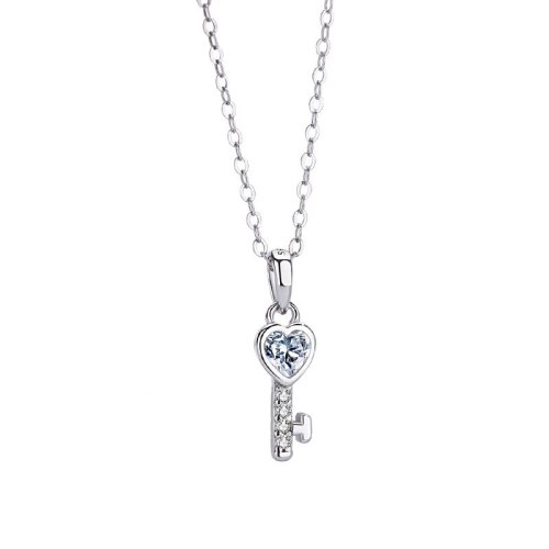 S925 Pure Silver Jewelry Japanese Korean Version Heart-shaped Key Necklace Creative Love Pendant MlA1815