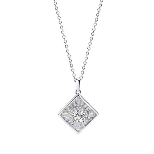 S925 Sterling Silver Square Geometry Zircon Pendant Korea Simple Ornament Female MlA458A