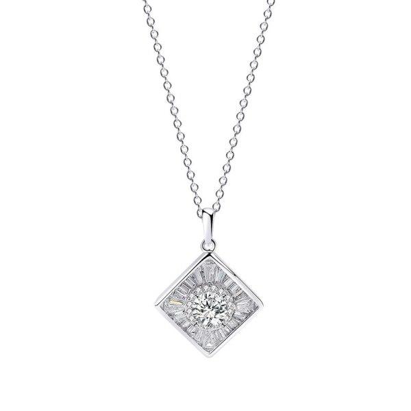 S925 Sterling Silver Square Geometry Zircon Pendant Korea Simple Ornament Female MlA458A