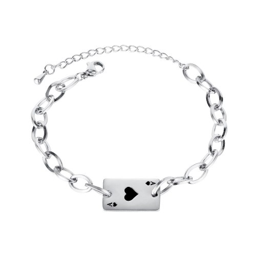 Korean Temperament All-match Gift Simple Fashion Personality Peach Heart Playing Card Titanium Steel Bracelet Female Gb1138
