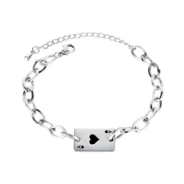 Korean Temperament All-match Gift Simple Fashion Personality Peach Heart Playing Card Titanium Steel Bracelet Female Gb1138