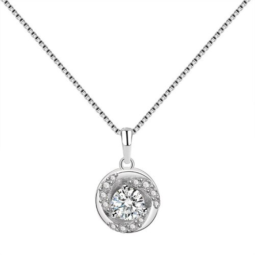 S925 Sterling Silver Rose Necklace Pendant Women's Ins Korean-Style Zircon Diamond Set Clavicle Chain Pendant Mla1869