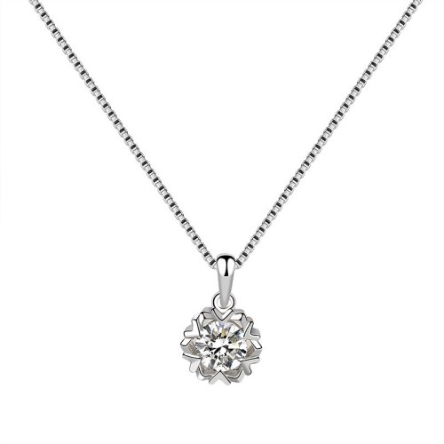 S925 Sterling Silver Snowflake Necklace Pendant Female Korean Style Fashion Pendant Silver Jewelry Mla1831