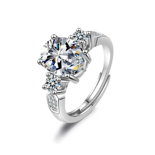 Adjustable Ring Female Egg-shaped Zircon Ring Flash Diamond Wedding Ring XzJZ353