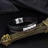 European and American Trendy Men's Creative Fashion Multilayer Leather Diamond Bracelet Accessories Wholesale Gb1443