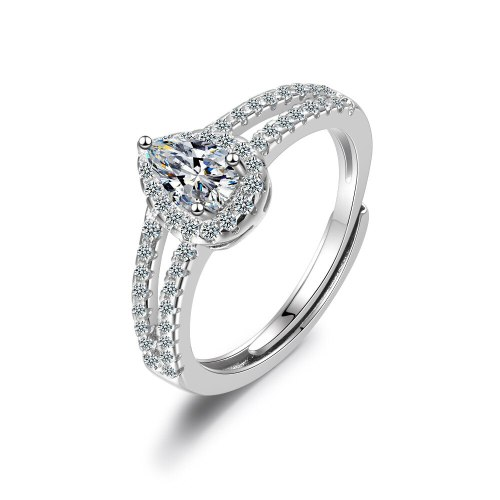 Korean Ring with Zirconium Water Drop Ring Pear Shaped Pigeon Egg Wedding Ring Xzjz350