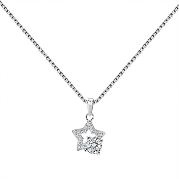 S925 Sterling Silver Five-Pointed Star Necklace Pendant Female Fashion White Collar Creative Star Silver Pendant Mla1827