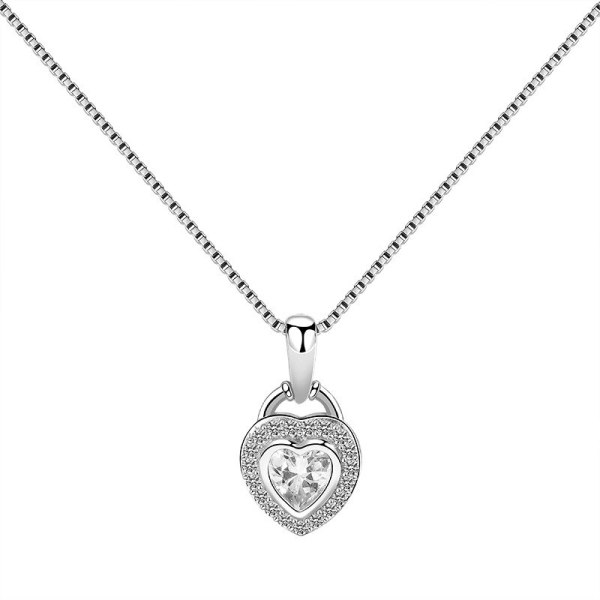 S925 Sterling Silver Lovely Pendant Female Fashion Temperament Korean Heart-Shaped Zircon Necklace Pendant Wholesale Mla1810