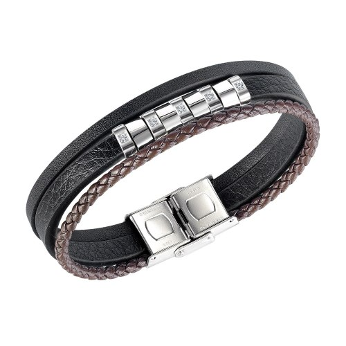 European and American Trendy Men's Creative Fashion Multilayer Leather Diamond Bracelet Accessories Wholesale Gb1443