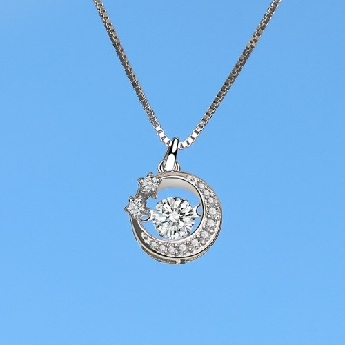 S925 Sterling Silver Star Moon Necklace Full Diamond Pendant Japanese and Korean Popular Small jewelry Silver Wholesale Mla1979