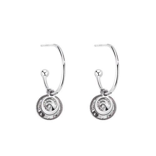 European and American Retro Color Zircon Earrings Female S925 Sterling Silver Earrings Temperament Earrings Earhook MlE1845