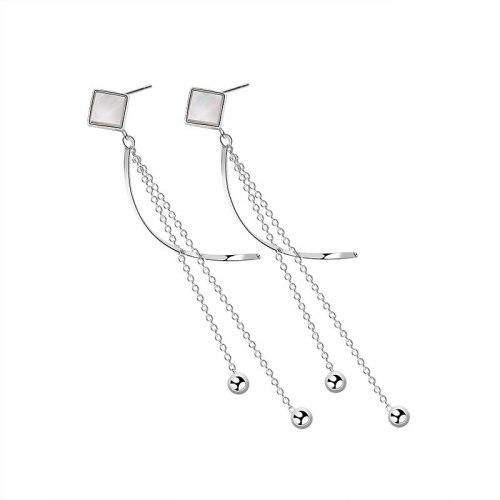 S925 Silver Bean White Bean White Silver Earrings Earrings Female Fashion Vintage Korean Version Silver Earrings Mle2079