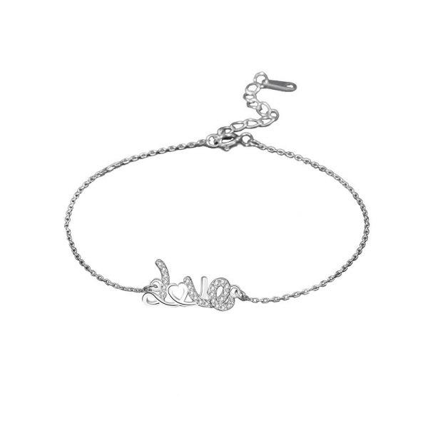 S925 Sterling Silver Letter Love Bracelet Women's Korean Heart-shaped Zircon Wristwear Mll522