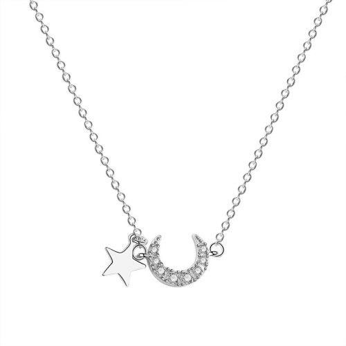 S925 Sterling Silver Star Moon Necklace Female Ins Korean Zircon Clavicle Chain MlA1877