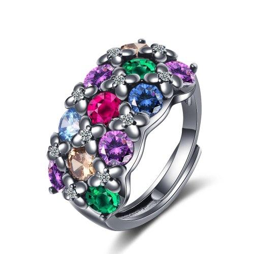 Zirconium Inlaid Ring Black Gold Fire Color Ring Feminine Temperament Zircon Ring Xzjz348