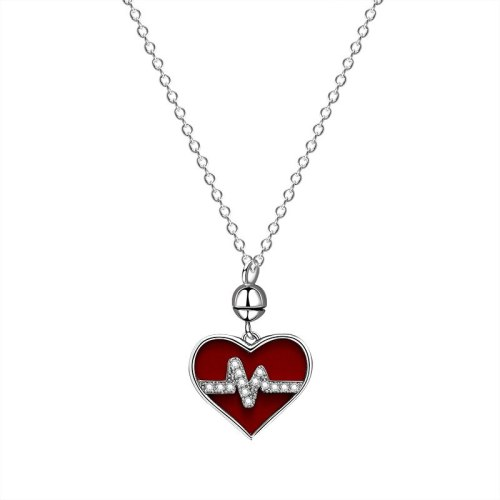 S925 Sterling Silver Electrocardiogram Love Heart Necklace Female Fashion Korean Version 520 Heart-shaped Clavicle Chain MlA1885