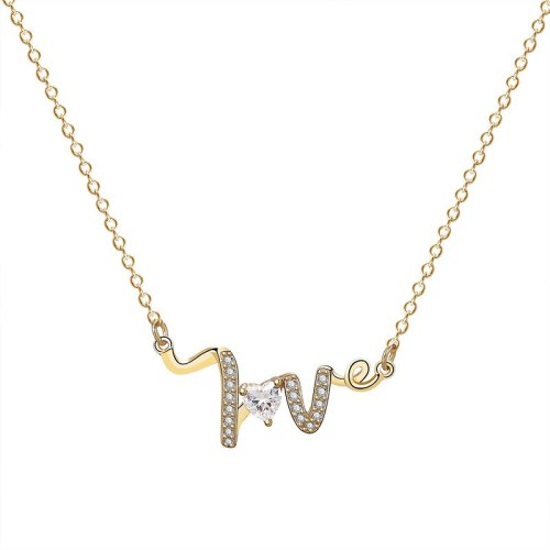S925 Sterling Silver Love Letter Necklace Female Fashion Ins Korean Version 520 Heart-shaped Zircon Clavicle Chain MlA1876