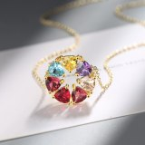 Necklace Women's Colorful Zircon Personalized Short Clavicle Chain Versatile Jewelry Xz538