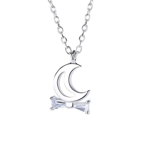 S925 Pure Silver Jewelry Female Korean Version Minimalist Cute 100 Stone Moon Necklace MlA1345