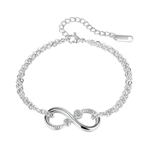Ins Design Fashion Simple Figure 8 Bracelet Girlfriends Stainless Steel Inlaid Zircon Jewelry Gb1141