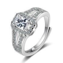Korean Version of Ring Female Square Zirconium Diamond Wide Female Ring Jewelry XzJZ360