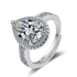 Korean Version Ring Women Square Zirconium Diamond Wide Face Women Ring Jewelry XzJZ358