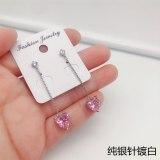 Love Heart-shaped Earrings Pink Girly Heart Simple Temperament Earrings S925 Sterling Silver Needle Earrings QxWE1619