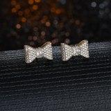 Bow Earrings Zircon Inlaid S925 Sterling Silver Needle Simple Korean Earrings Srud Earrings QxWE1552