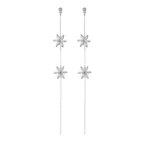 S925 Silver Needle Earrings AAA Zircon Inlaid Flowers Tassel Earrings Korean Style Simple and Fashionable Earrings QxWE1317