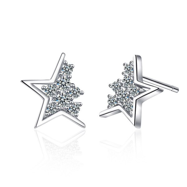 Diamond-studded Star Earrings Female Korean Style Simple Student Forest Ins Style Five-pointed Star Ear Jewelry XzED908