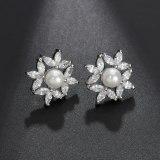 Zircon Flower Pearl Set Earrings Women's White Gorgeous Earrings Stud Earrings QxWE1348
