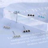 Row of Diamond Earrings Blue Pine Zirconium Diamond Temperament J Simple Female Compact Ear Jewelry XzED907