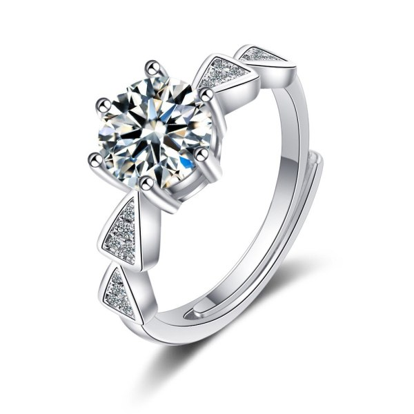Flash Zirconium Diamond Ring Live Mouth Design Fashion Temperament Ring Female Ring Bracelet XzJZ371
