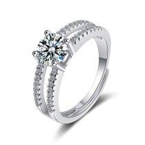 Flash Zirconium Diamond Ring Live Mouth Design Fashion Temperament Ring Female Ring Bracelet XzJZ368