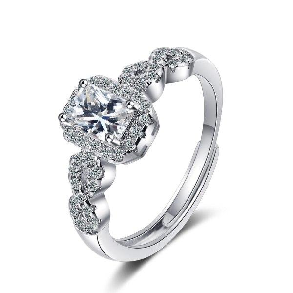 Ring Women's Square Zirconium Diamond Wide Face Women's Ring Bracelet XzJZ367