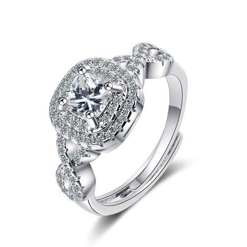 Korean Version Ring Women's Zirconium Diamond Wide Face Women's Ring Bracelet XzJZ369