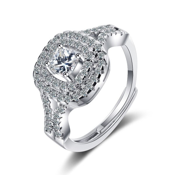 Flash Zirconium Diamond Ring Live Mouth Design Fashion Temperament Ring Female Ring Bracelet XzJZ357